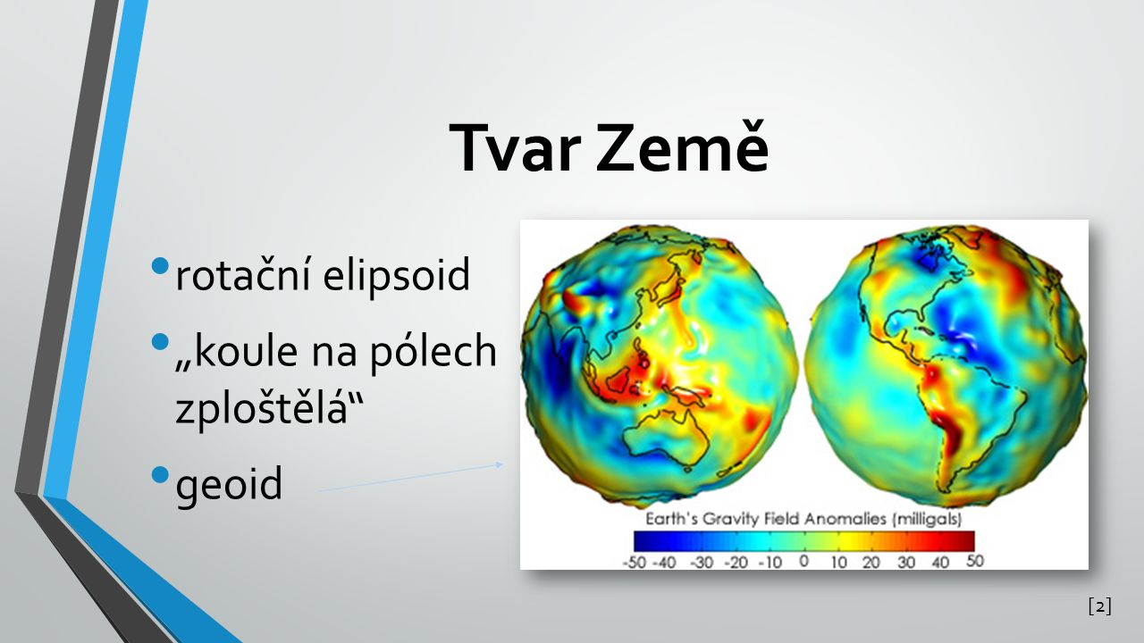 """Tvar Země rotační elipsoid """"koule na pólech zploštělá geoid [2]"""